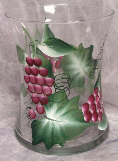 Hand Painted Burgundy Grape Hourglass Ice Bucket/Vase