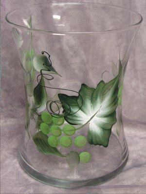 Hand Painted Green Grape Hourglass Ice Bucket/Vase