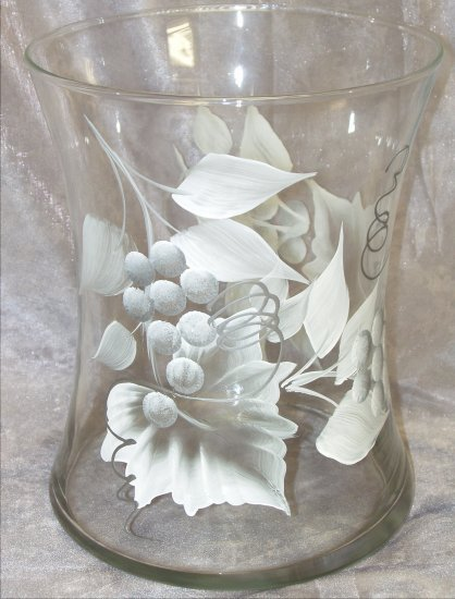 Hand Painted White/Silver Grape Hourglass Ice Bucket/Vase
