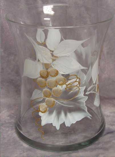 Hand Painted White/Gold Grape Hourglass Ice Bucket/Vase