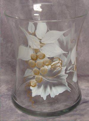 Hand Painted White/Gold Grape Hourglass Ice Bucket/Vase