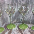 Hand Painted Retro Green Wine Glasseses, set of 4