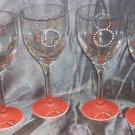 Hand Painted Retro Orange Wine Glasses, set of 4
