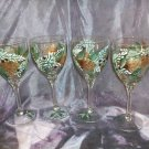 Hand Painted Pinecones, pine & berries Wine Glasses, set of 4