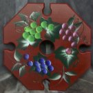 Hand painted, wooden wine caddy, Burgundy withGrapes