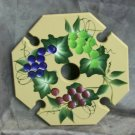 Hand painted, wooden wine caddy, Beige with Grapes