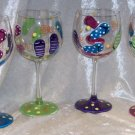 Hand Painted Flip Flops & Polka Dot Wine Glasses, set of 4