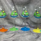 Hand Painted Lime Green Sailboat Wine Glasses, set of 4