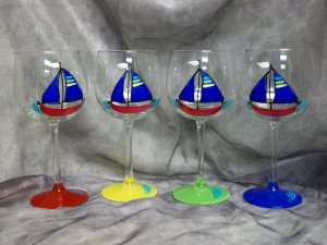 Hand Painted Cobalt Blue Sailboat Wine Glasses, set of 4