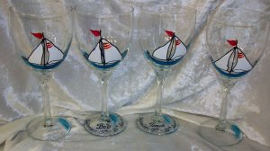 Hand Painted Turq. White Sailboat Wine Glasses, set of 4