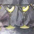 Hand Painted 10oz. Lemon martini glasses, set of 4
