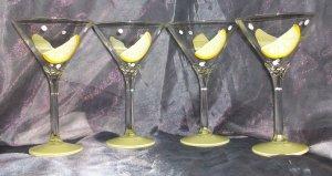 Hand Painted 10oz. Lemon martini glasses, set of 4