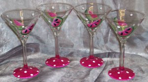 Hand Painted 13oz. Watermelon martini glasses, set of 4