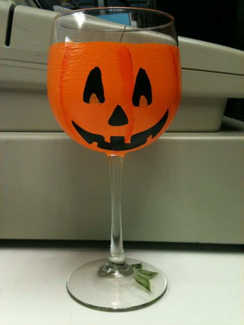 Hand Painted Jack-O-Lantern Wine Glasses, set of 4
