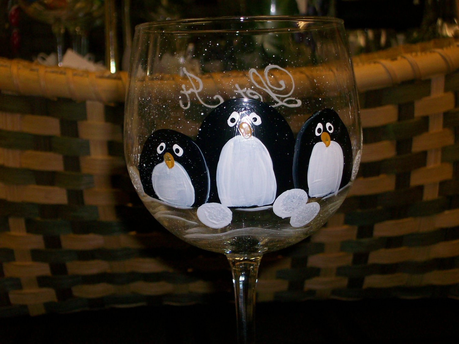 Hand Painted Penguin Wine Glasses, set of 4