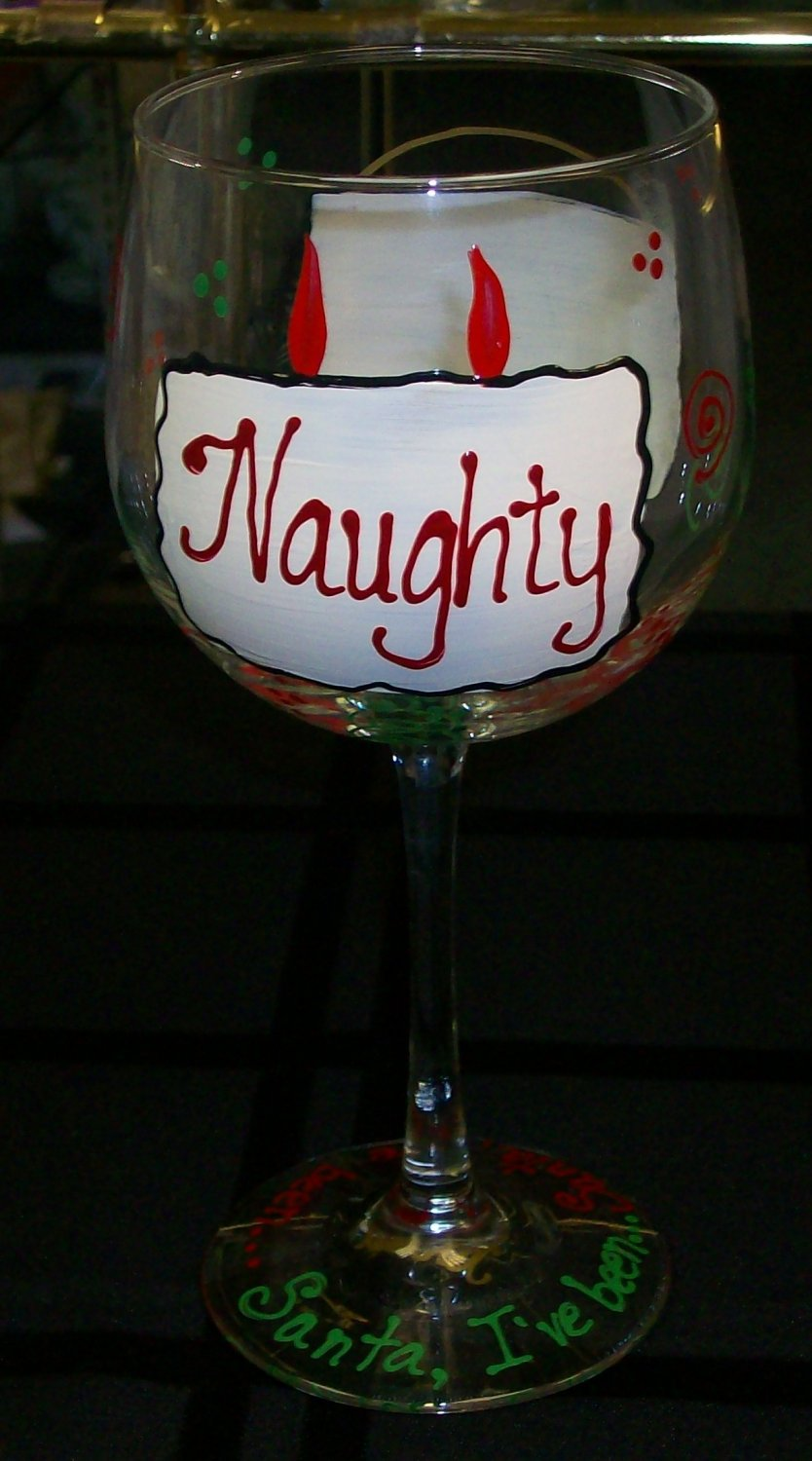 """Hand Painted """"Naughty"""" or """"Nice"""" Wine Glasses, set of 4"""