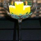 Hand Painted Candles Wine Glasses, set of 4