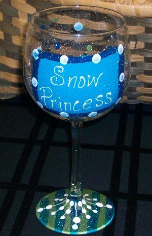"Hand Painted ""Snow Princess""  Wine Glass"