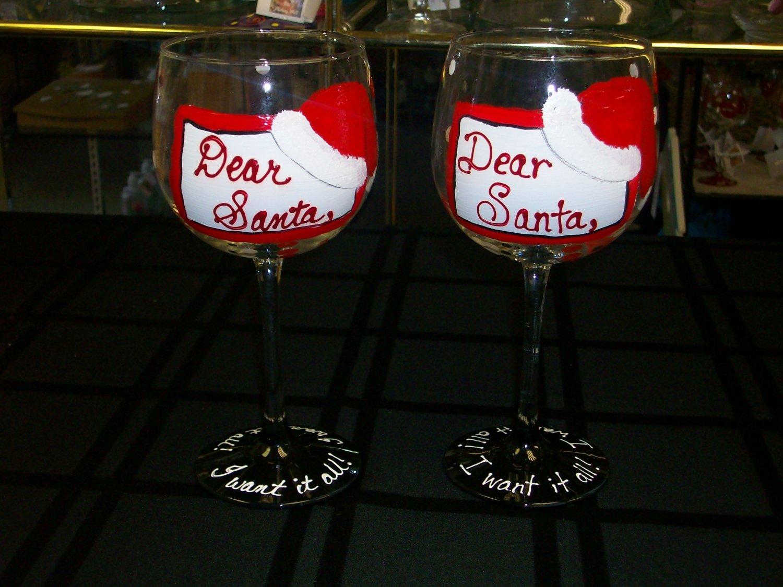 "Hand Painted ""Dear Santa""  Wine Glass"