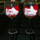 "Hand Painted ""Dear Santa""  Wine Glass"