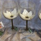 3-D Magnolia Wine glasses, set of 4