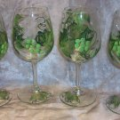 Hand Painted Green Color Grape Wine Glasses, set of 4