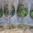 Hand Painted Multi Color Grape Wine Glasses, set of 4