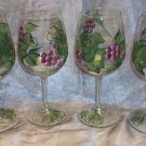 Hand Painted Burgundy Color Grape Wine Glasses, set of 4