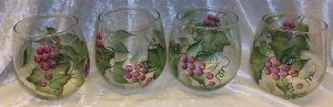 Hand Painted Stemless Wine glasses, Burgundy Grapes
