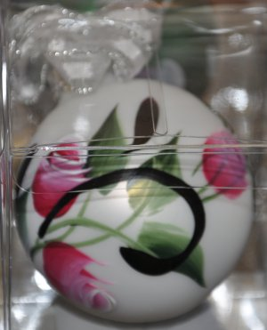Hand painted Rosebuds & swirls Christmas Ornament