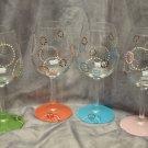 Hand Painted Retro Multi Colored Wine Glasses, set of 4