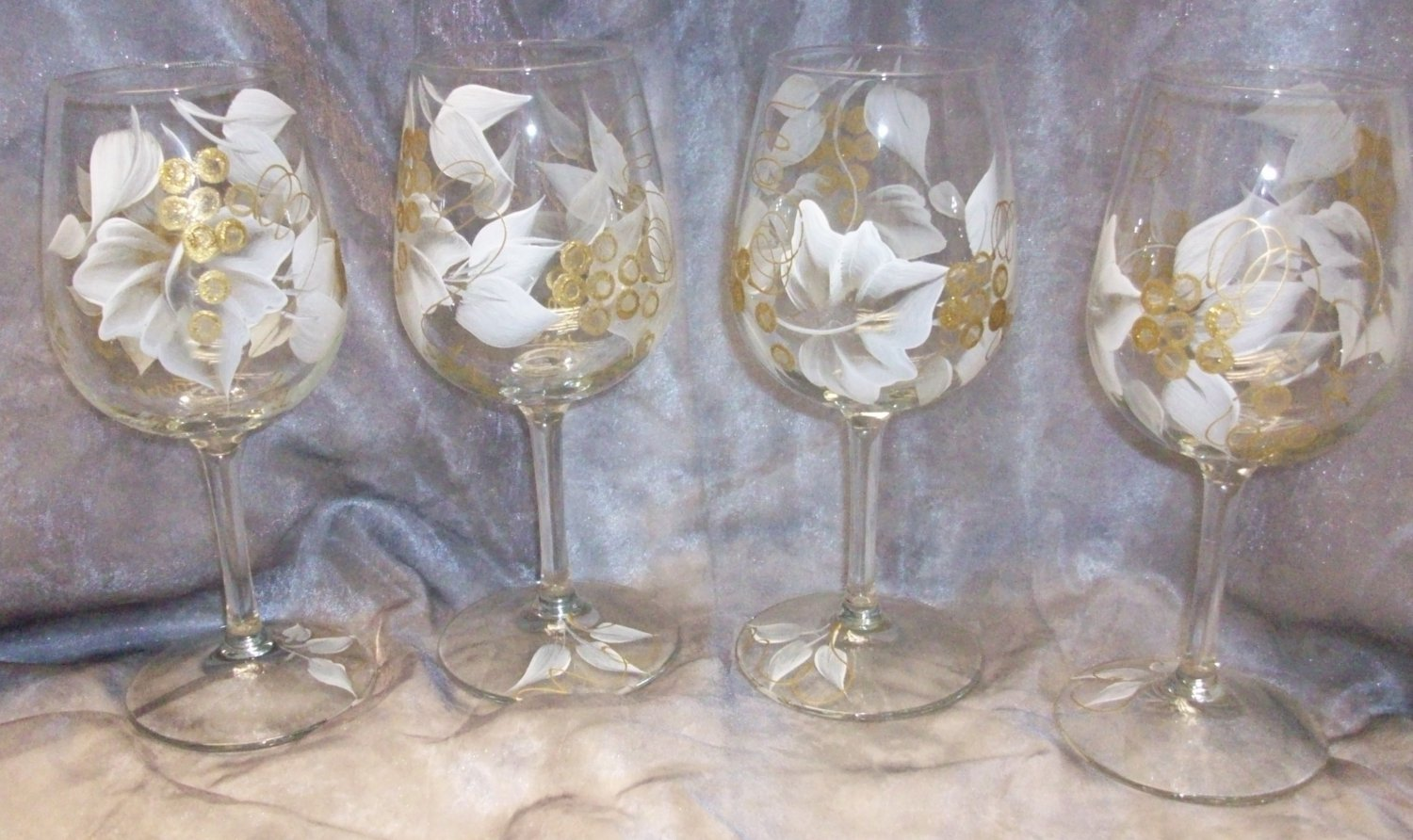 Hand Painted White Gold Colored Grape Wine Glasses Set Of 4