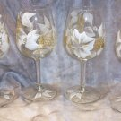 Hand Painted White/Gold Colored Grape Wine Glasses, set of 4