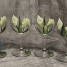 Hand Painted Calla Lily Wine Glasses, set of 4