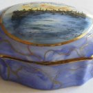 Ludwigshafen German Porcelain Trinket Box Farbenindustrie Dyes Harbor Scene BASF ? Chemical Factory