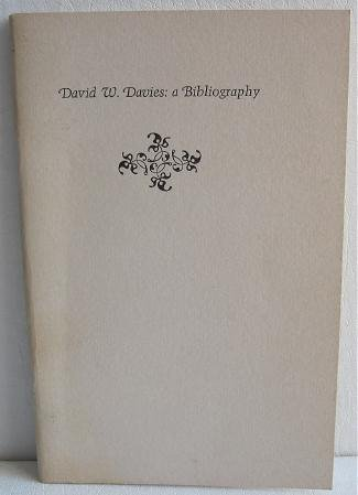 David W Davies A Bibliography by Don W Keran c.1973 Limited Printing 500 Copies Books on Books