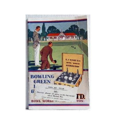 Bowling Green Bowls and Accessories c.1934 Original Catalog EJ Riley Bowl Works Sports Sporting