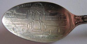1904 St Louis Worlds Fair Sterling Silver Souvenir Spoon Cascade Gardens Exposition Bridge