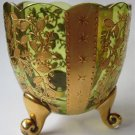 Antique Bohemian Moser? Green Glass Footed Novelty Vase Heavy Gold Stars Flowers Toothpick ?