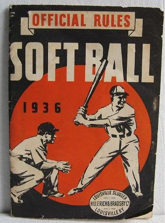 1936 Official Rules Soft Ball Louisville Slugger Hillerich & Bradsby Co H&B Bats Hickory Ash