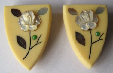 Pair Vintage Faux Ivory Plastic Dress Clips Mother-of-Pearl Flowers Abalone Made in Japan