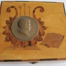 Old Marquetry Wooden Trinket Box R. Ruepp Bronze Wolfgang Amadeus Mozart Medal