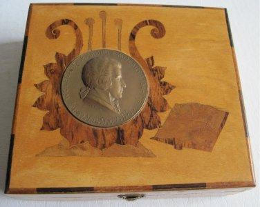 Old Marquetry Wooden Trinket Box R. Ruepp Bronze Wolfgang Amadeus Mozart Medal