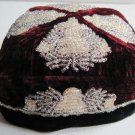 Vintage Maroon Black Beaded Velvet Russian Square Doppa Skullcap 1963 Man's Hat Men's Apparel