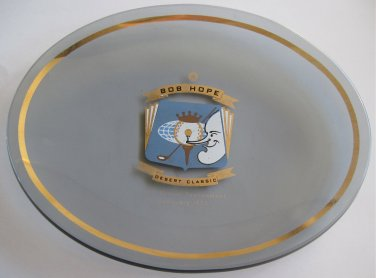 1971 Bob Hope Desert Classic Golf Tournament Smoke Glass Dish or Tray Caricature Celebrity Movie