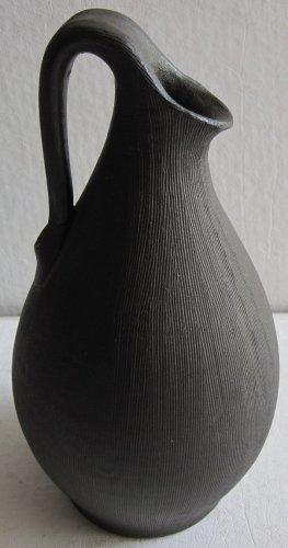 Danish Modern 1930's-1940's Art Black Pottery Ewer Jug Vase Signed Dagnaes Bolighus