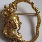 Vintage Art Nouveau Gilt Metal Brooch Pin Signed MIRIAM HASKELL Lady Flowers Floral