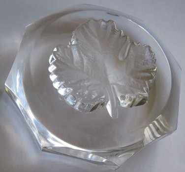Lalique France Crystal Octagonal Leaf Paperweight