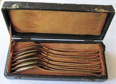 1838 French Sterling Silver .950 Gilt Vermeil Spoons Set Charles-Salomon Mahler Paris Fitted Case
