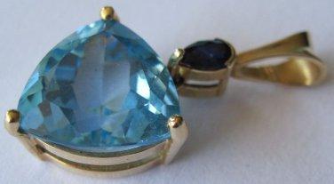 Pretty 14K Gold Pendant Mexico Sapphire Blue Topaz ? 2 dwt